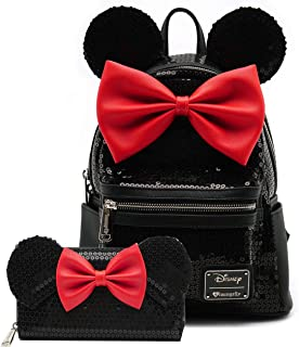 Loungefly Disney Minnie Mouse Sequin Mini Backpack Wallet Set (Black)