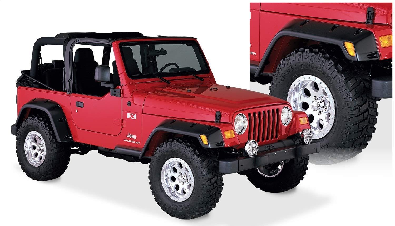 Amazon Com Bushwacker 10908 07 Jeep Pocket Style Fender Flare Set Of 4 Automotive
