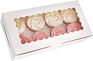 Tcoivs 30-Set Cupcake Boxes with Window Hold 8 Standard Cupcakes, 12.3'' x 6.3'' x 2.5'' White Food Grade Paperboard Cupca...