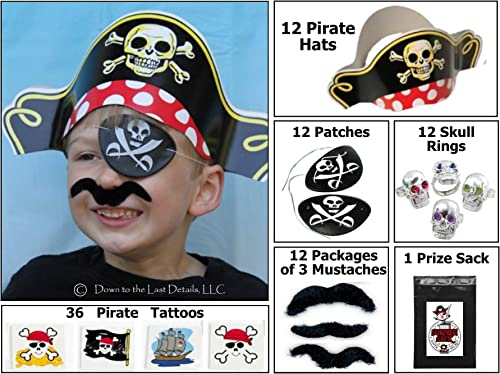 12 Pirate Robe up Party Favor Pack (12 Pirate Hats, 12 Pirate Patches, 36 Stick-on Mustaches, & 36 Pirate Tattoos) Costume Supplies by Multiple