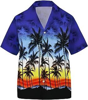 YoungSoul Jungen Hawaii Hemd Kurzarm Kokosnussbaum Bedruckt Aloha Hemd Freizeithemd