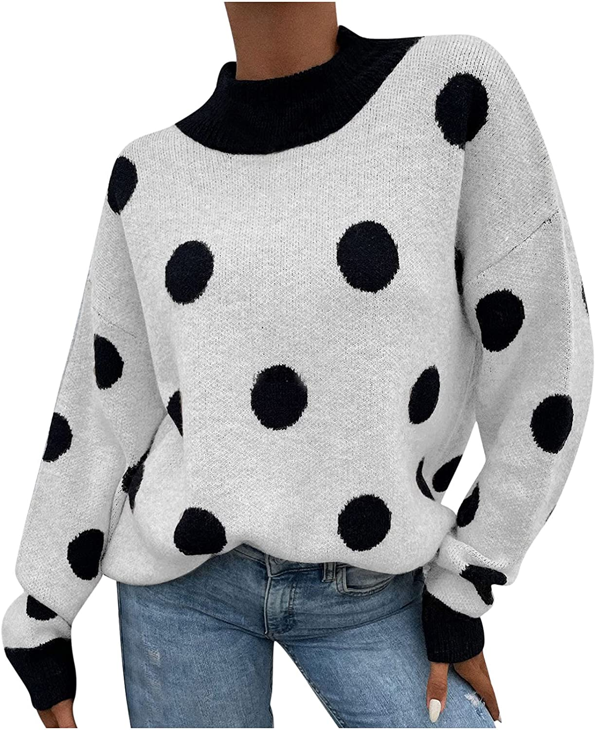 Womens Sweaters Fall,Womens Tops O-Neck Polka Dot Pullover Knit T-Shirt Loose Long-Sleeve Sexy Ladies Comfy Plus Size Blouses