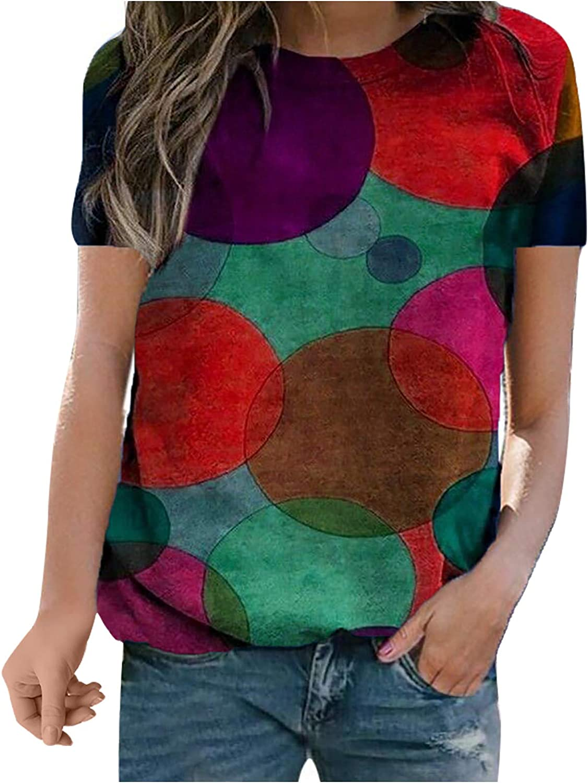 Women's Top,Summer Short Sleeves for Women Loose Casual Tops Polka Dot Print T-Shirt O-Neck Blouse