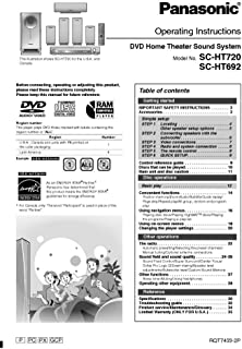 Panasonic SA-HT692 SA-HT720 Home Theater System Owners Instruction Manual Reprint [Plastic Comb] Every Instruction Manual