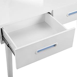 SONGMICS Tocador moderno con espejo, taburete y 2 cajones, Tablero MDF, para Dormitorio y vestuario, Blanco, RDT42WT