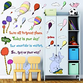 Supzone Dr Seuss Wall Stickers Quotes Sayings Kid Wall Decor You're Off to Great Places Wall Decor Mural Hot Air Balloon W...