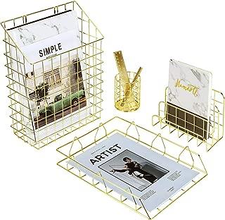 $20 » Simmer Stone Desk Organizer Set, 4 in 1 Decorative Accessories Organizer, File Holder Basket, Letter Sorter, Pen Holder and Desk Tray, Gold