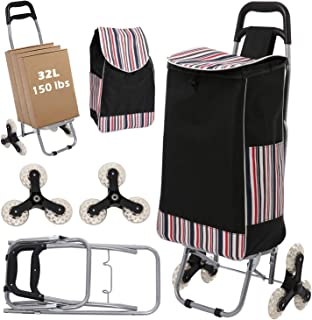 Wesoky Shopping Cart Stair Climber, 2-in-1 Folding Grocery Laundry Utility Cart Hand Truck 150 lbs with Handle and Detacha...