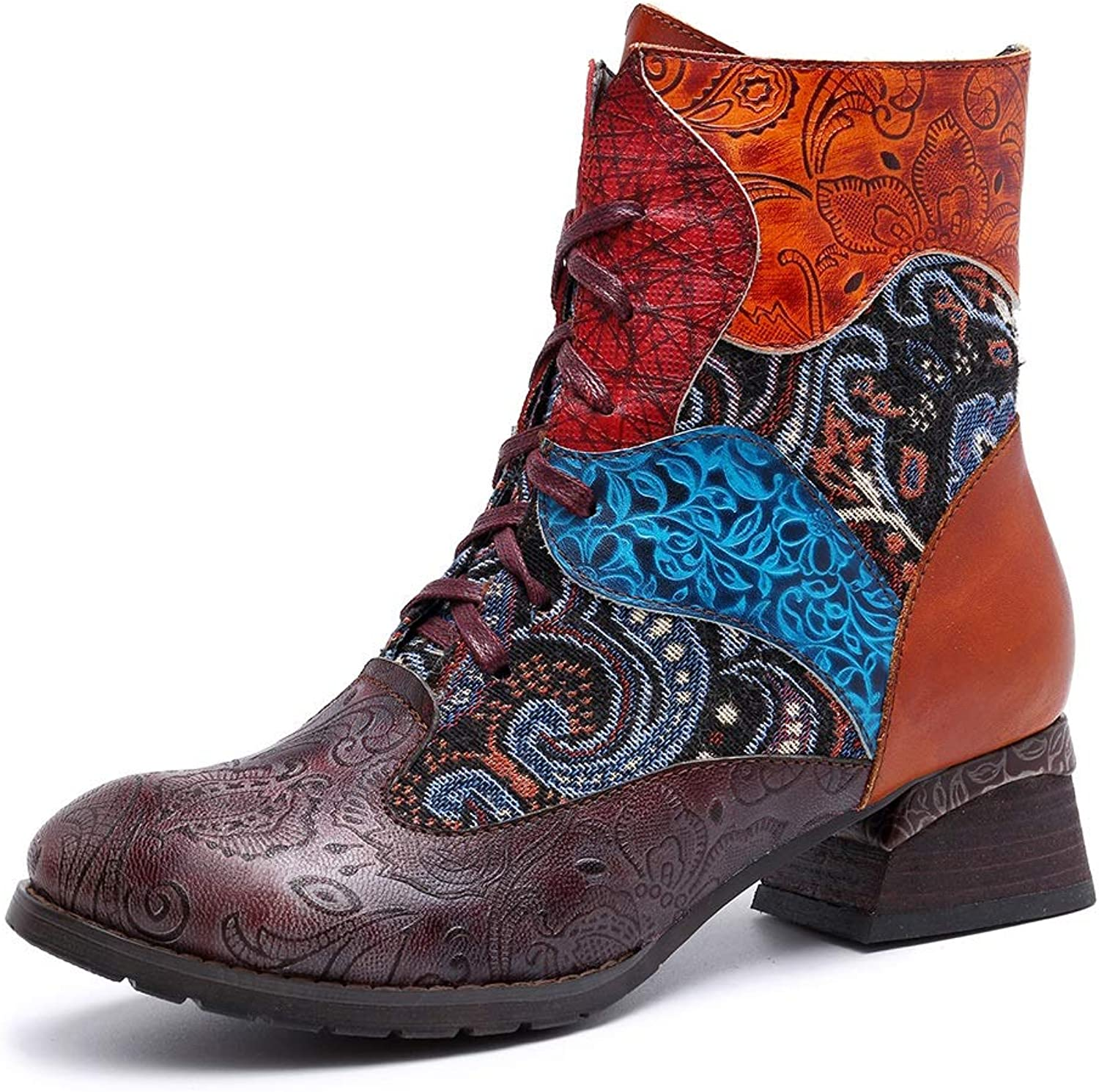 Women's Leather color Leather Printed Jacquard and Women's Boots Cowboy Boots (color   Red, Size   7US)