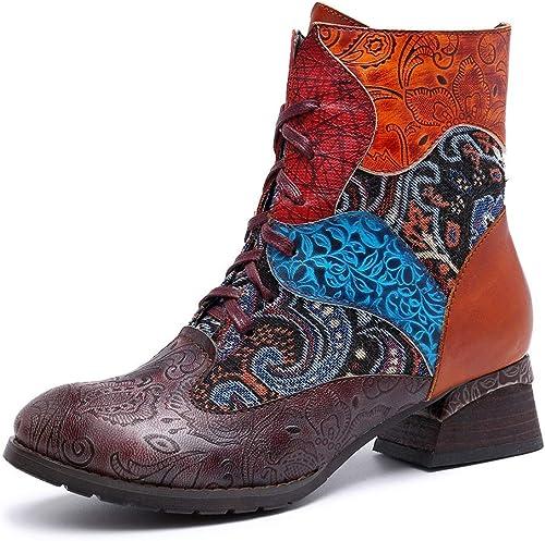 Ruiyue botas de Las mujeres, botas de Vaquero de Cuero Impresas Telar jacquar Coloridas para Las señoras (Color   rojo, Talla   42EU)