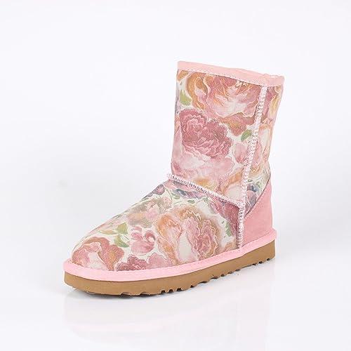 DYF Chaussures Bottes vérin central antidérapant de grande taille à à fond plat étanche,Rose,40  beaucoup de concessions