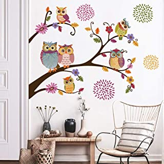 decalmile Owl Tree Branch Wall Stickers Flower Wall Decals Kids Baby Nursery Bedroom Wall Decor