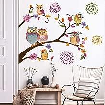 decalmile Wandtattoo Eule auf Gro/ßem Baum Wandsticker Affen V/ögel Blumen Wandaufkleber Babyzimmer Kinderzimmer Schlafzimmer Wanddeko
