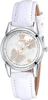 INWET Butterfly Women's Quartz Watch with Mother of Pearl Dial and White Leather Strap