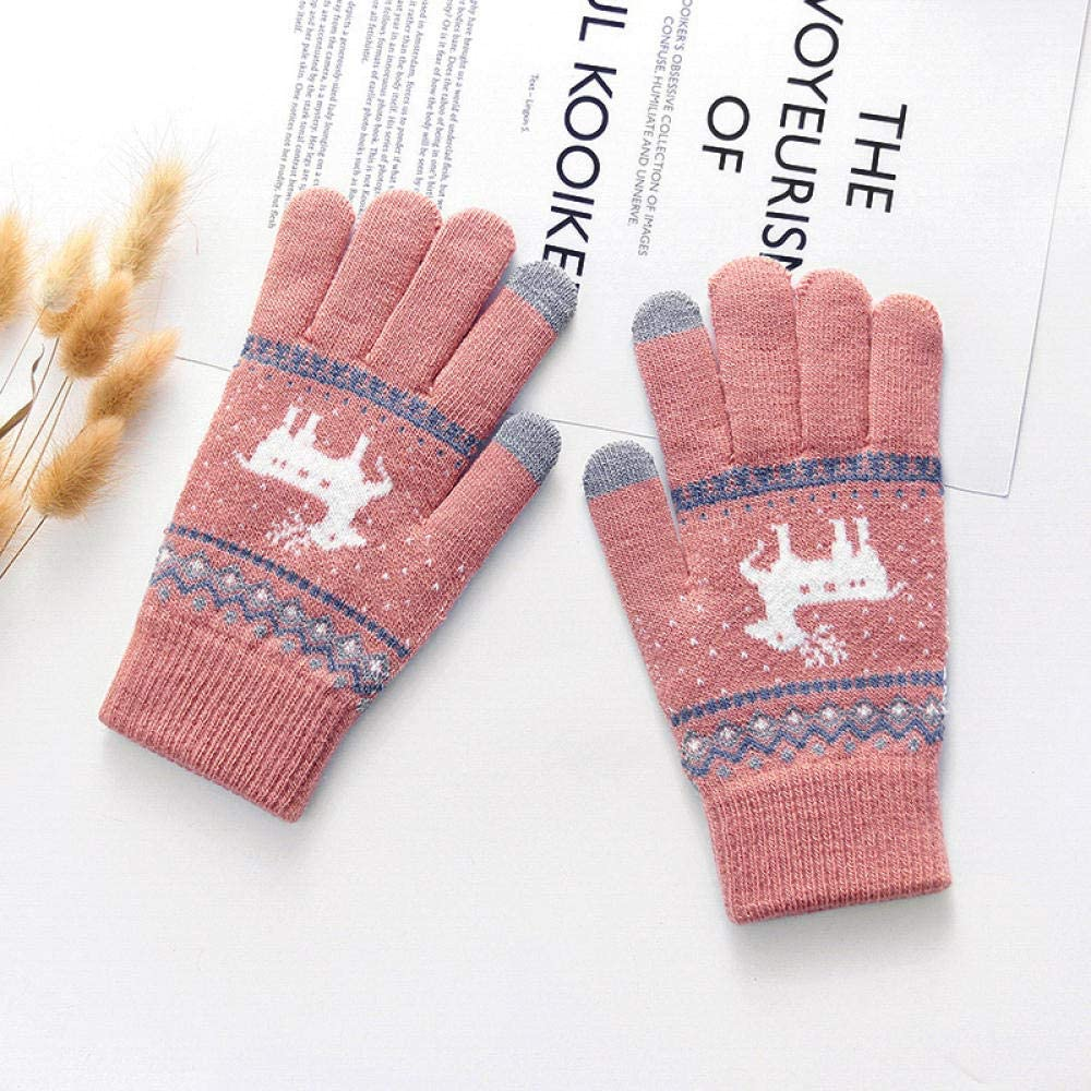 Women's Cold Weather Gloves Plus velvet cute wool knit christmas fawn