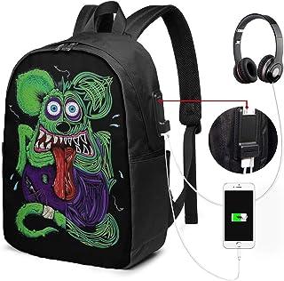 "ChristineBermudez Rat Fink USB Charging Port Backpack 17"""",Large Laptop Backpack for Men and Women Teens,Notebook Travel Camping School College Business Work 17"""" Backpack"