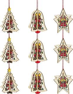 Locisne 9 pièces 3D Ornements en Bois de noël, Pendentif de noël décoration d'arbre de noël Ornements Suspendus décor de V...