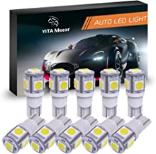 YITAMOTOR 194 168 T10 LED Bulb White, 2825 158 192 906 LED Replacement Light Bulb for Car Dome Map License Plate Lights Lamp, 5SMD, 12V, 10-Pack