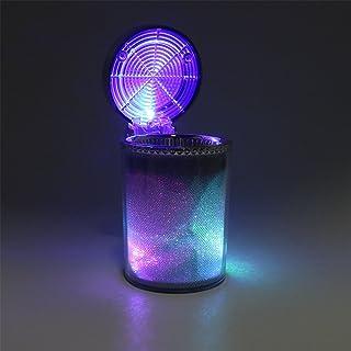iTimo Auto Aschenbecher mit LED Licht Zigarre Aschenbecher Behälter Rauchasche Zylinder Rauchbecher Becherhalter Aufbewahrung Cup Autozubehör