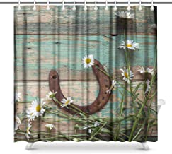 InterestPrint Rusty Horseshoe and Daisies on Rustic Old Barn Wood Fabric Bathroom Shower Curtain Decor Set with Hooks, 72 x 72 Inches Long