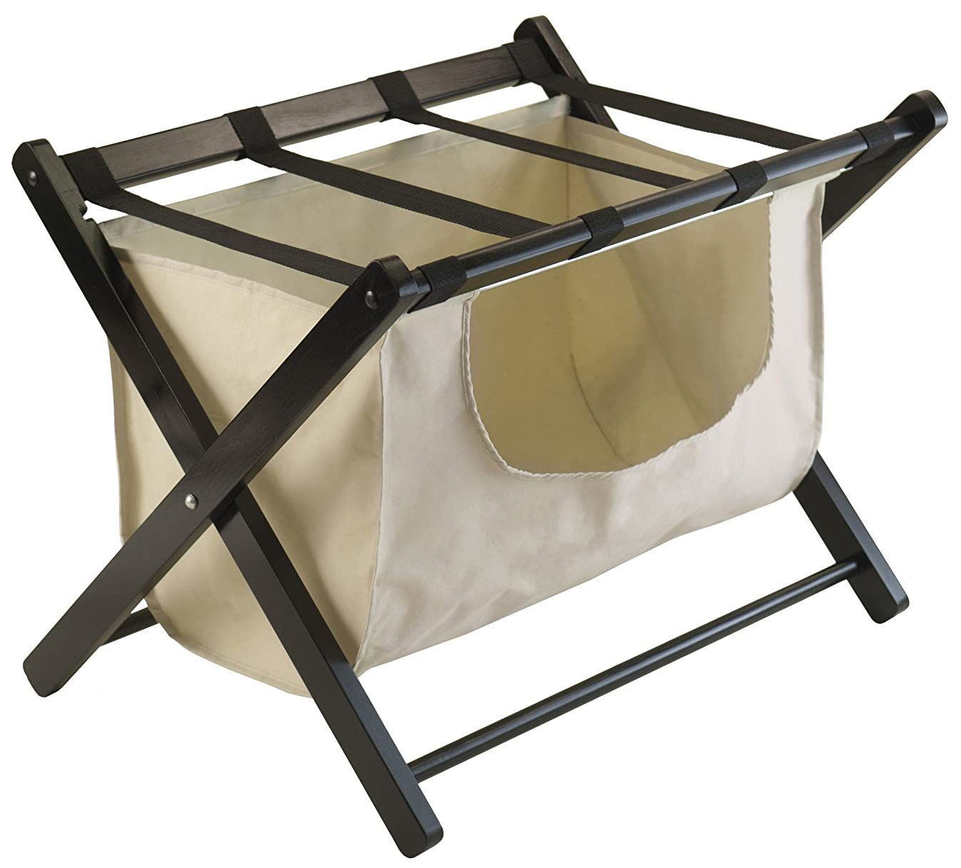 Winsome Wood Dora Luggage Rack with Removable Fabric Basket