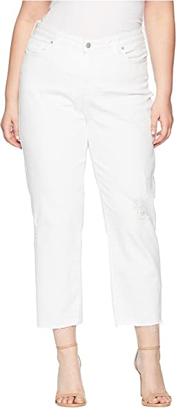 NYDJ Plus Size Plus Size Jenna Straight Ankle w/ Raw Hem in Optic White Destructed
