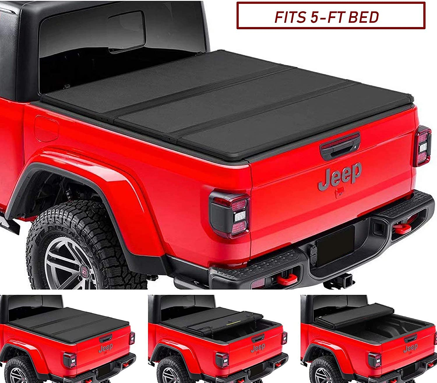 Kikito Professional FRP Hard Tri-Fold Truck Bed Tonneau Cover for 2020-2021 Gladiator JT 5ft (60.3in) Bed