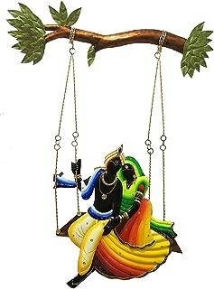 Giant Roots Radha and Krishna Riding on Jhul Iron Wall Hanging (56.59 cm x 39.19 cm x 2.39 cm)