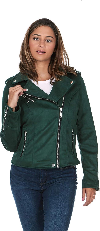 JOUJOU Womens Luxury Clothing Semi Fitted Suede Leather Motorcycle Jacket, Fashionable & Stylish Coat