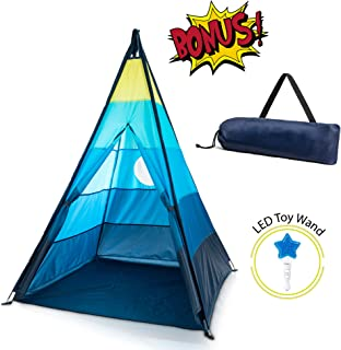 GiddyGo Teepee Tent for Kids: Teepee Tent for Boys or Girls with Easy 4 Pole Assembly, Skylight, Window, Carry Case and LED Light Wand Toy - Indoor / Outdoor Kids Tent for a Toddler or Child