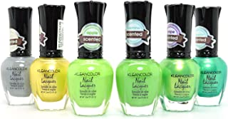 6 KLEANCOLOR ECLECTIC ENSEMBLE SWEET SCENTED NAIL POLISH LACQUER JUNGLE KNP21 + FREE EARRING