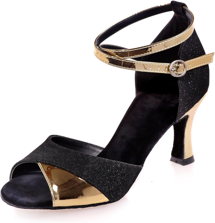 Elobaby Frauen Tanzschuhe Mandel Runde Zehe Peep Toe Low Heels Plattform   34-42 7,5 cm Ferse
