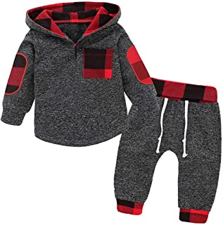 Baby Boys Pant Set Embroidery Plaid Pocket Hooded Sweatshirt Outfit