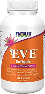 Now Supplements Eve Women's Multivitamin with Evening Primrose, Cranberry, Green Tea, Horsetail Silica & CoQ10, 180 Softgels, Black (3803)
