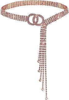 أحزمة كريستال Lamdgbway للنساء فستان حجر الراين الخصر حزام O حلقة هدية لأصدقاء عيد ميلاد