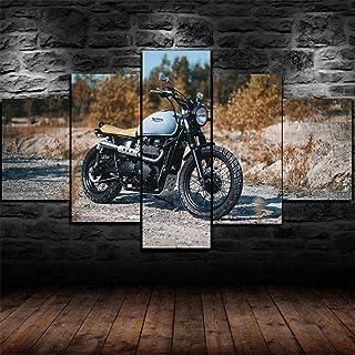 QZWXEC Moto Triumph Bonneville/ 5 Parties tendu Toile Impression,Moderne HD Posters Image Artistique Home Murale Decoratio...