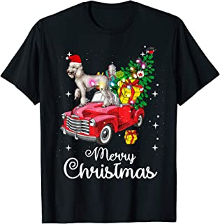 Poodle Rides Red Truck Christmas Pajama T-Shirt