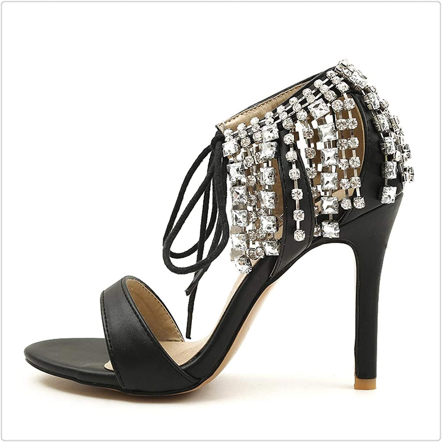 Yyixianma Sandals Thin Heel Lace Up Cut-Outs Strappy Ankle Woman Stiletto High Heels shoes