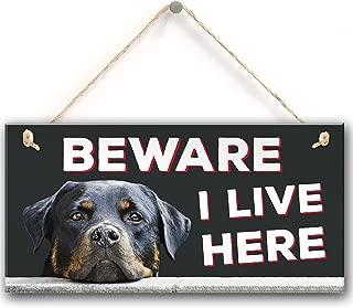 Meijiafei Beware I Live Here Rottweiler Hanging Outdoor Dog Warning Sign Gate Security Plaque 10