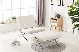 MCombo Lounge Sillón Relax Butaca Modern Lounge Silla PU Piel Acero Inoxidable Sillón + Taburete