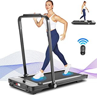 Wikole 2 in 1 Folding Treadmill, 2.25HP Portable Electric Treadmill with Bluetooth Speaker, Remote Control & LED Display, Under Desk Treadmill Machine for Home/Office Workout, Installation-Free