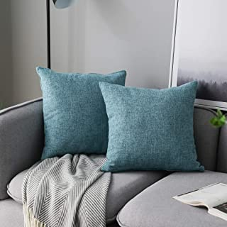 Best Anickal Set of 2 Light Blue Pillow Covers Cotton Linen Decorative Square Throw Pillow Covers 18x18 Inch for Sofa Couch Home Farmhouse Decoration Review