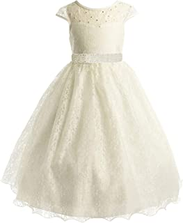 Lace Peek-A-Boo Bodice Communion Flower Girl Pageant Dress 2-20