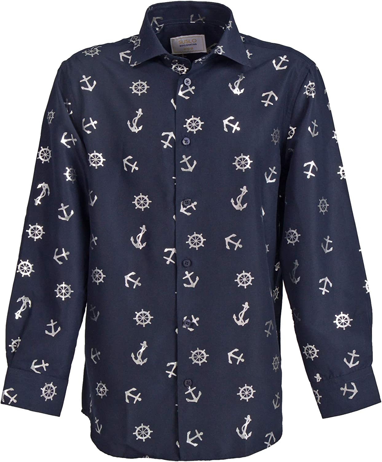 Suslo Couture Boys Button Down Classic Collared Casual Long Sleeve Shirt