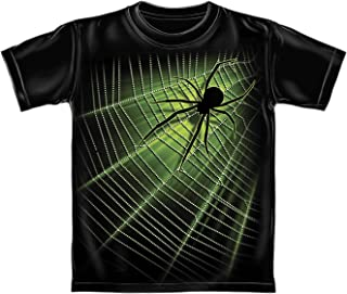 Giant Spider Web Glow in The Dark Youth Tee Shirt