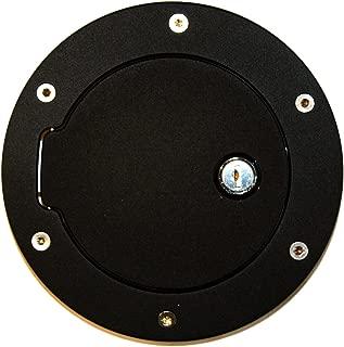 AMI 6047KL Race Style Billet Fuel Door 6 1/2'' Ring O.D. 4 1/2'' Door O.D.-Flat Black Ring and Locking Door, 1 Pack
