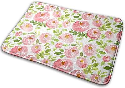 Pink Watercolor Floral Carpet Non-Slip Welcome Front Doormat Entryway Carpet Washable Outdoor Indoor Mat Room Rug 15.7 X 23.6 inch