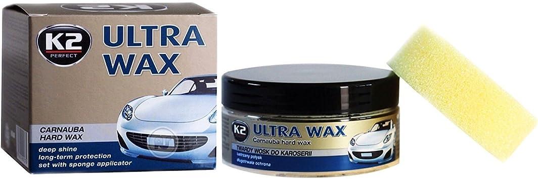 K2 Ultra CAR WAX Carnauba Polish UV Protection Deep Shine GREAT WATER BEADING 250g + Free Applicator: image