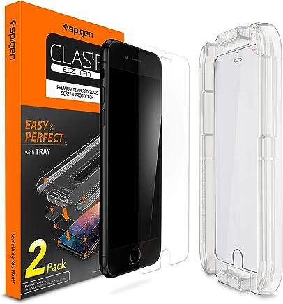 Spigen, 2Stück, EZ Fit Panzerglas Schutzfolie kompatibel mit iPhone 7 / 8, mit Installationhilfe, Schablone, 9H gehärtes Glas, Hüllenfreundlich, Geeignet für iPhone 7 /8 Panzerglasfolie (054GL22382)