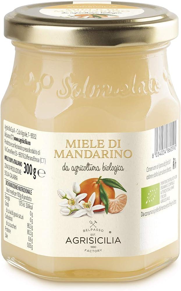 Agrisicilia, miele di fiori di mandarino, da agricoltura biologica ,vasetto da 300 g